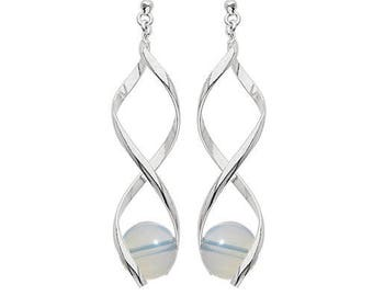 Earrings swirl silver plated - synthetic Moonstone (opalite)