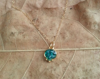 Small Green Pomegranate Pendant, Pomegranate Necklace, 14k Gold filled Necklace, Resin Jewelry