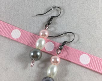 Gray, Pink and White Pearl Drop Earrings