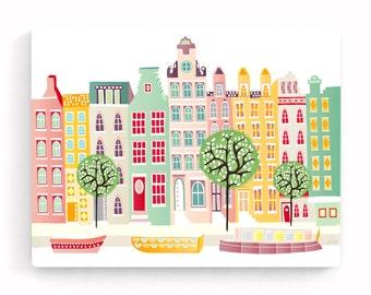 Amsterdam Canvas Wall Art, Canal Houses, Amsterdam Skyline, Dutch Cityscape, Illustration, Home decor, Art for kids room, nursery, Gift