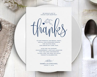Navy Blue Wedding Thank You Printable Template, Thank You Card Template, Printable Thank you, Thank You Template, Thanks Template, WPC_219