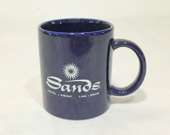 Vintage Sands Casino Coffee Mug Cobalt Blue Las Vegas