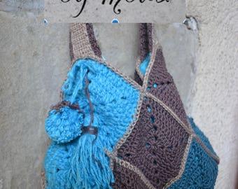 Granny square crochet cotton shoulder bag