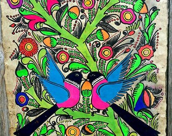 Vintage 1970's Hand Painted Art Neon Mod Hippie Bird Flowers