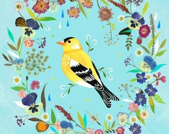Goldfinch Meadow art print | Mixed Media Wall Art | Bird Painting | Katie Daisy | 8x10 | 11x14