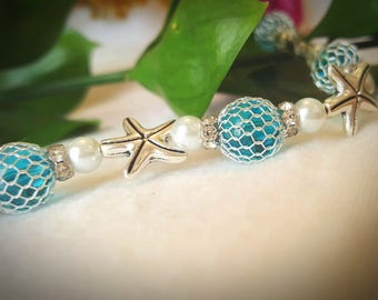 Starfish Pearl and Turquoise Bracelet