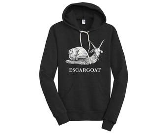Escargoat Unisex Pullover Hoodie, Black, Goat + Snail Hybrid Animal, Cool Goat Gift, Super Soft, Whatif Creations, Portland, OR