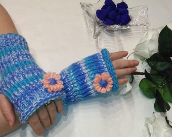 Fingerless Gloves, arm sleeves, gift for woman, gloves, fingerless, gift for wife, birthday gift, Arm Warmers, pretty blue, for her