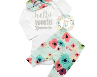 Newborn Baby coming home outfit, Floral on Light Blue theme hello world baby girl shower gift coming home from the hospital outfit  baby