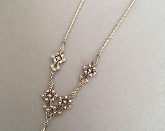 Marcasite Vintage Necklace Pendant Silver tone 1970s
