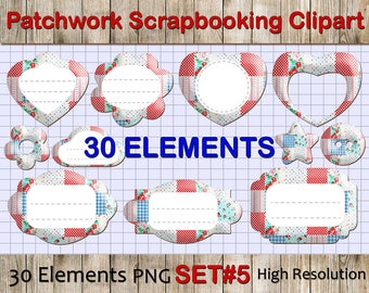 Patchwork Tags, Labels and Banner Clipart: Patchwork Clip Art, colorful digital clip art, Digital Clipart Tags and Labels, Scrapbook PNG