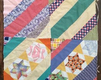 Patchwork Quilt And 6 Pointed Star Quilt Top Piece, Newborn Photography Basket Stuffer, Prop Set