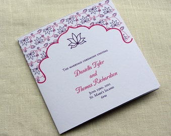Elegant Wedding Program - Modern Indian Lotus Ceremony Program - Floral - Square