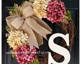 FRONT Door Wreath, Monogram Wreath with Cranberry Pink and Cream Hydrangeas for Door,  Door Decor, Door Wreath