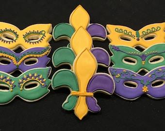 Mardi Gras Themed Sugar Cookies