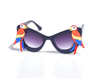 Red Parrot Sunglasses Black or White Oversize Cat Eye Sunglasses - Mirrored Laser-Cut Acrylic Retro Pinup Jimmy Buffet Tropical Birds Animal