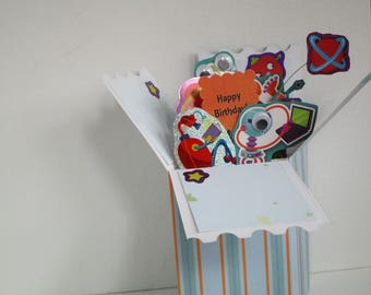 Handmade Robot and Pirate Themed Pop-up Exploding Box cards Card for Boys - Free Shipping in USA