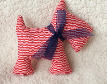 Stuffed Scottie Dog - stuffed toy - red and white wavy stripes with navy blue sheer ribbon