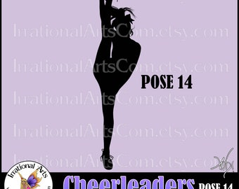 Cheerleader Silhouettes Pose 14 - 1 EPS & SVG vinyl ready files, 1 png digital graphics, small commercial license {Instant Download}