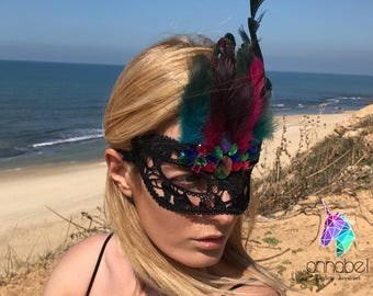 Black Lace and Feather Face Mask Masquerade Rhinestones