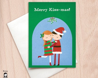 Merry Kiss-Mas - Mistletoe Kiss Christmas Card - Christmas Greeting Card
