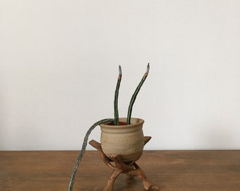 small carved plant stand with stoneware plant pot