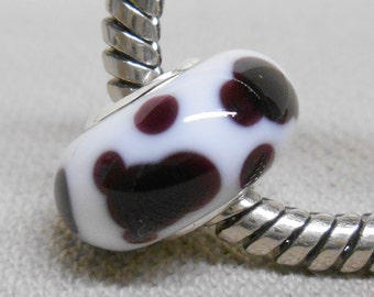 Large Hole Glass Lampwork Bead European Style Charm Bead Cow Print Silver Cored Bead