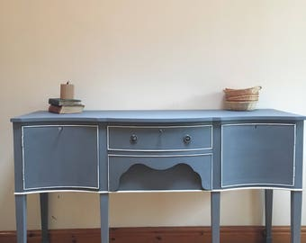 SOLD Serpentine antique buffet sideboard painted grey