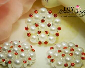 Rhinestone & Pearl buttons RED Flatback Embellishments - Bridal Supplies flower centers Headbands crystal bouquet  5 pcs 23mm 193047