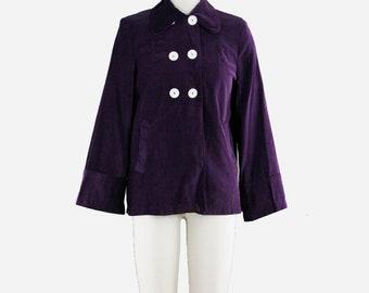 Vintage 1950s Swing Coat - Dark Purple Corduroy Jacket - Peter Pan Collar - Trapeze Coat - Button Up - Large