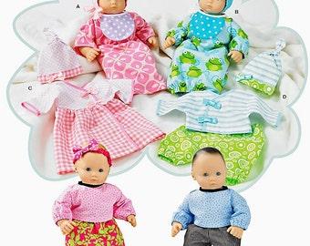 "Simplicity 1937, 15"" Baby doll clothes pattern, Bitty Baby, Twins, sleepsack, hat, bonnet, bib, booties, dress & top, pants, t shirt, UN-CUT"