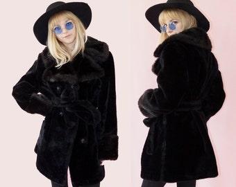 Black Late 60s Faux Fur Duster Coat, Double Breasted Coat, Vintage Bohemian, Women's Size Medium/Large