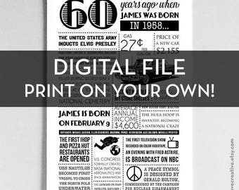 Personalized 60th Birthday Poster, 1958 Events - Printable - Birthday Gift or Party Decoration - Print on your own!