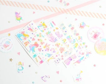 Alice in Wonderland Stickers Set, Alice in Wonderland Stickers, Korean Stickers