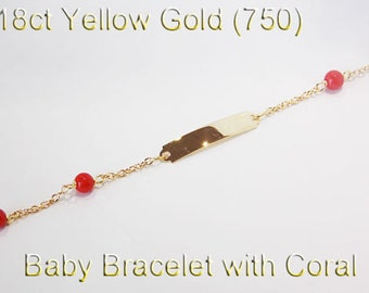 18ct 750 Genuine Yellow Gold Baby Bracelet + ID Name Plate Engrave Bracelet - PS55