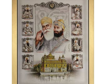 Guru Nanak Dev & Guru Gobind Singh Ji With Eight Gurus And Golden Temple In Size – 20″ x 14″ Inches