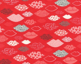 By The HALF YARD - Kiss Kiss by Abi Hall for Moda, Patt #35253-13 Lips on Lipstick Red, Lips in White, Black, Red and Pink, Words and Hearts