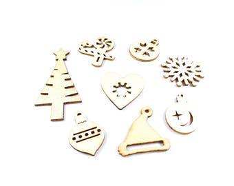 8 figures of natural wood Christmas embellishments around 28-60mm x 20-30mm * Christmas Deco *.