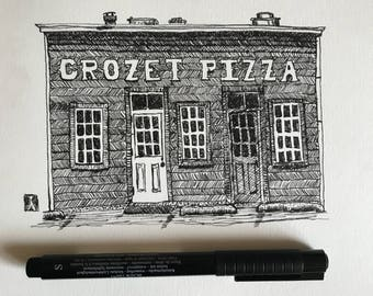 KillerBeeMoto: Original Pen Sketch of Crozet Pizza Shop in Crozet Virginia