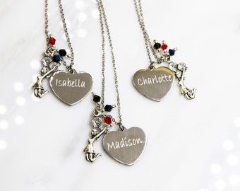 Cheer Necklace, Personalized Cheer Necklace,  Cheerleading, Team Colors, Cheer team gift, cheerleader gift, cheer gift, cheer team gift