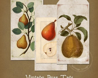 Vintage Pear Tags Collage Sheet Digital Download
