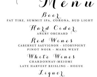 Drink Menu for weddings or events