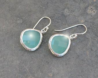 Aqua blue earrings, Glass earrings, Silver earrings, Bridal earrings, Mother's Day Gift, Christmas earrings, Clip earrings,tmj00050
