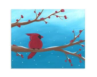 Snow Cardinal ~ Whimsical Holiday Artwork