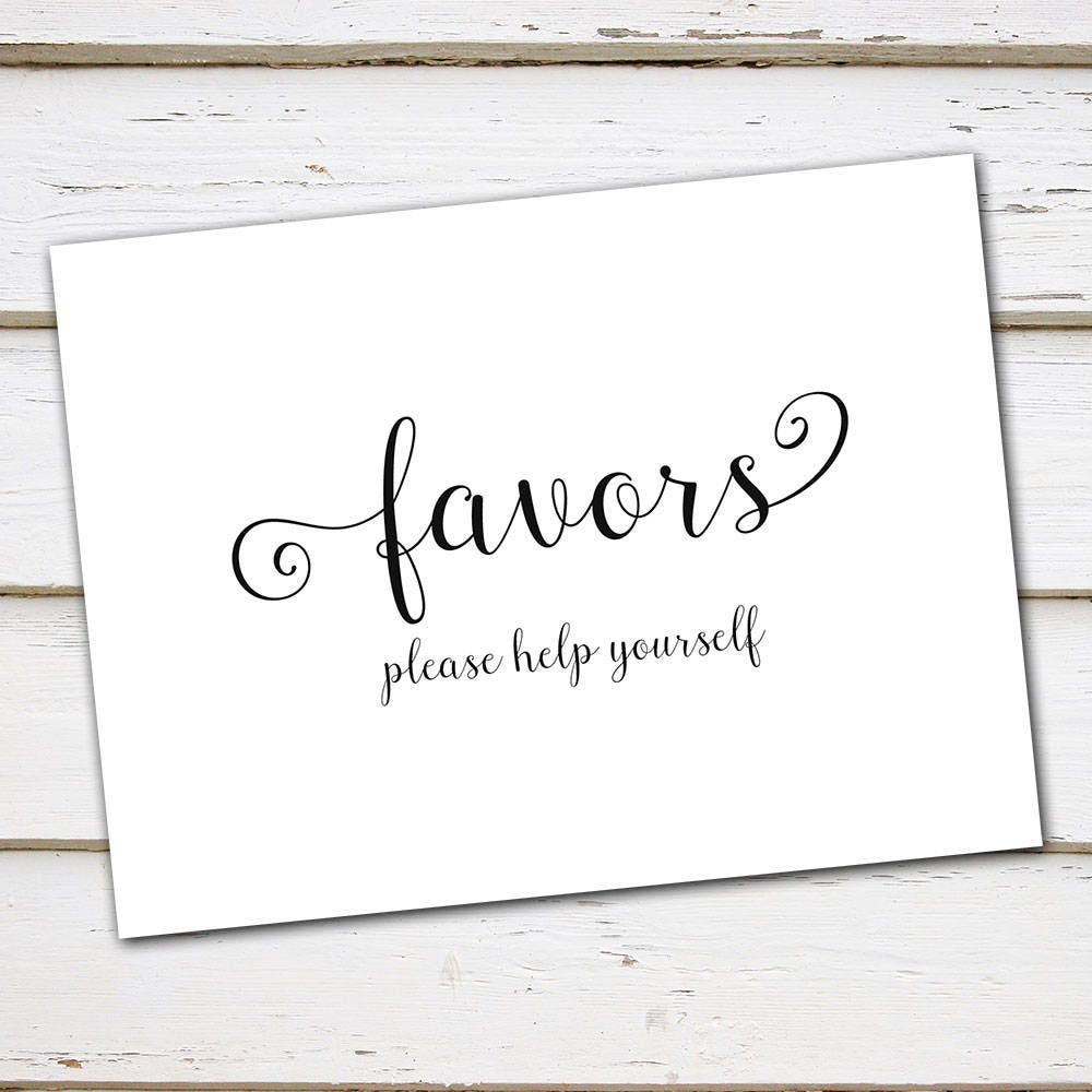 Printable Wedding Favors Sign, Please Help Yourself, Favor Table ...