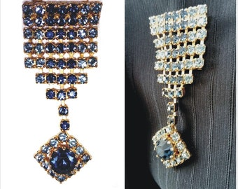 Medal Style Rhinestone Brooch / Military style 1980's Pin / Blue Zircon Pendant Brooch / Vintage 80ties Golden Tone Badge / Retro Jewelry