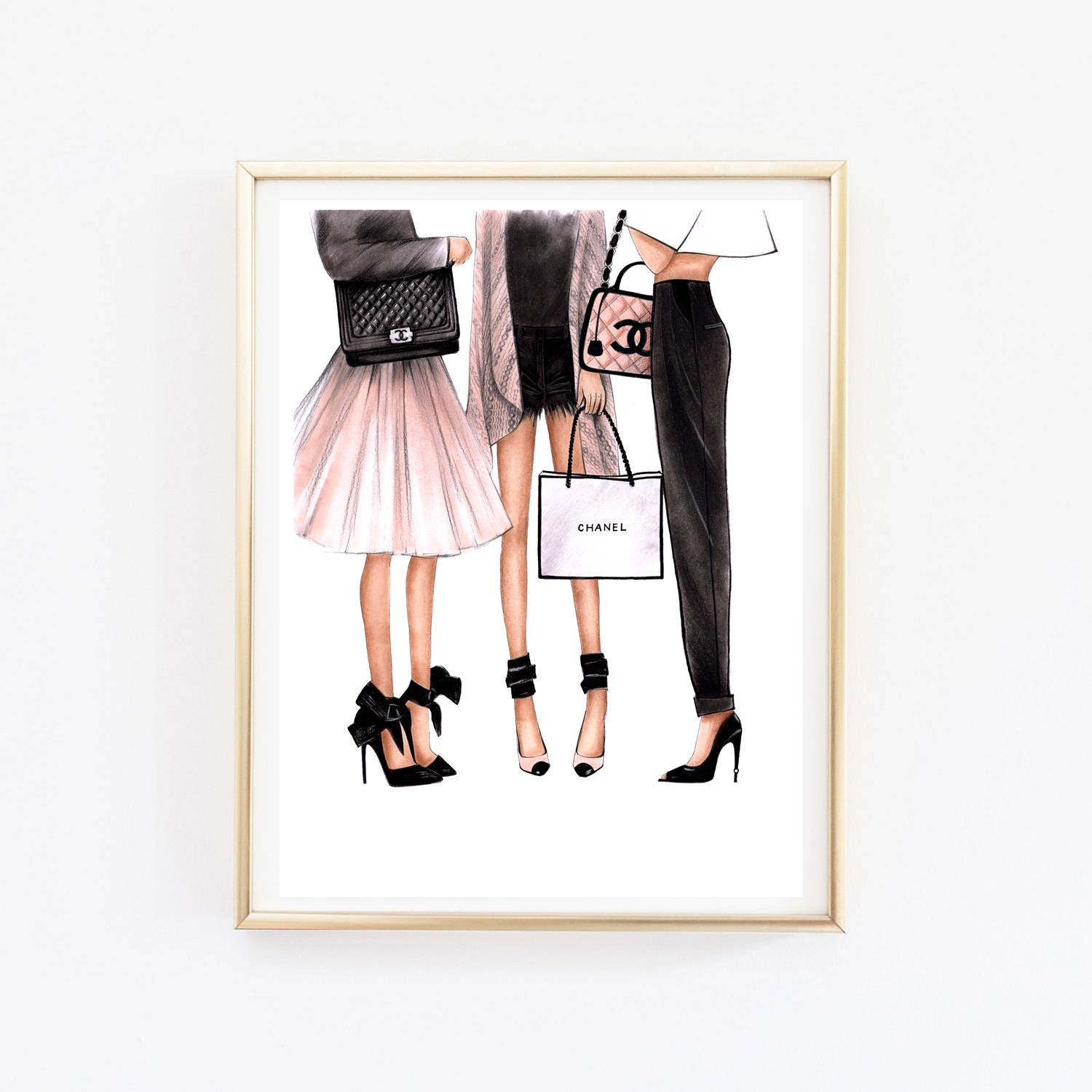 Fashion Illustration Chanel art Chanel print Fashion wall art