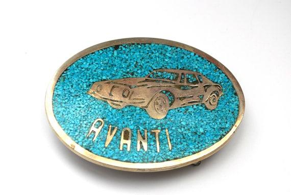 Avanti  Belt Buckle - turquoise chip inlay  - studebaker Car silver blue accessory