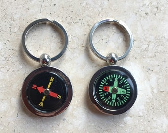 Working Compass Keychain  Key Ring 2 Colors Graduation Gift