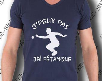 "T-shirt ""J'peux pas, j'ai pétanque."" Tee-shirt humour idée cadeau."